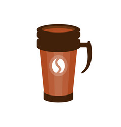 takeout coffee in a brown thermo cup vector image