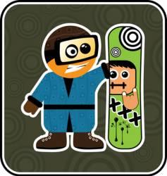 cartoon snowboarder vector image vector image