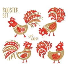Chinese Zodiac set of 2017 - Red Rooster New Year vector image