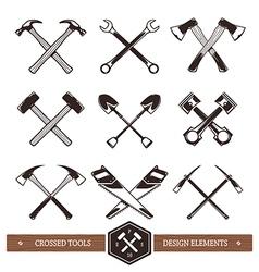 Crossed work tools vector