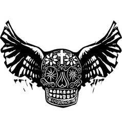 Day of the Dead Winged Skull vector image vector image