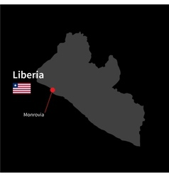 Detailed map of Liberia and capital city Monrovia vector image