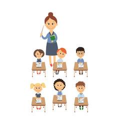 flat children sitting at desk teacher set vector image vector image