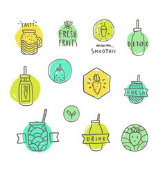 smoothie badges set vector image vector image