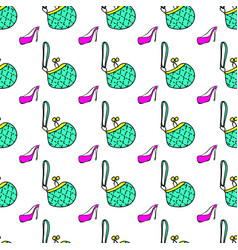 Beauty products fashion seamless pattern bag shoe vector