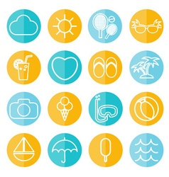 Flat icons collection in stylish colors of vector image vector image