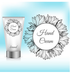 Hand cream packaging with magnolia wreath vector
