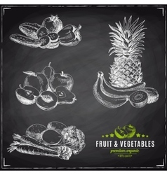set of fruit and vegetables vector image vector image