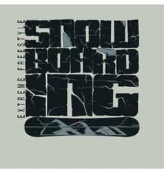 Snowboarding winter sport emblem T-shirt - vector image vector image