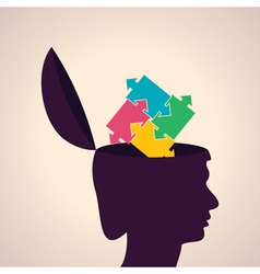 Thinking concept-Human head with puzzle pieces vector image vector image