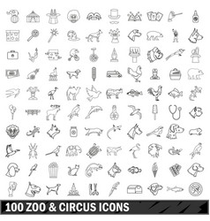 100 zoo and circus icons set outline style vector