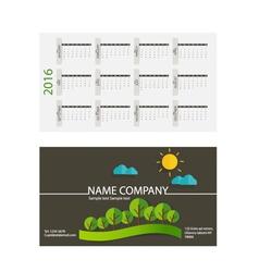 2016 calendar modern business card template with vector image flashek Choice Image