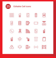 25 cell icons vector image