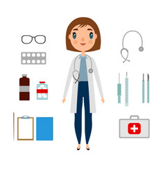 a doctor set of a woman with medicine elements vector image