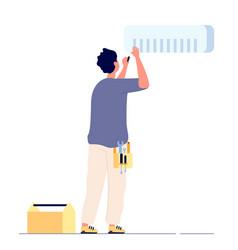 air conditioner repair man technician doing vector image