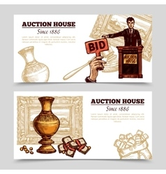 Auction House Hand Drawn Banners vector