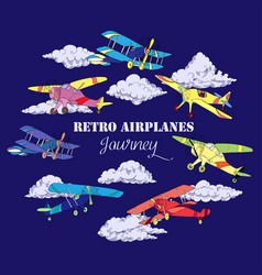 Background with colored airplanes vector