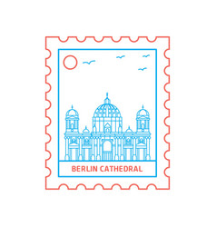 berlin cathedral postage stamp blue and red line vector image