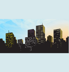 Big modern city silhouette with blue sky vector