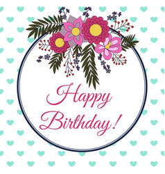 Birthday card with abstract flower elements vector