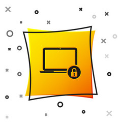 black laptop and lock icon isolated on white vector image