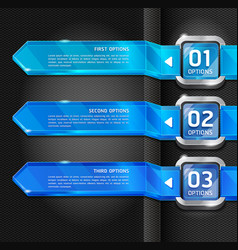 Blue color buttons website style options banner vector