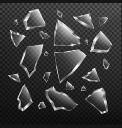 broken glass shards set crashed window fragments vector image