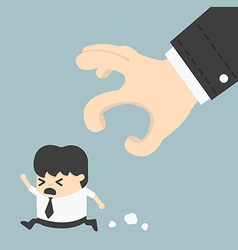 Businessman trying to run away from hand eps 10 vector