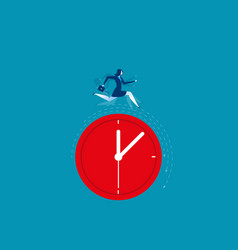 Businesswoman running on clock representing vector