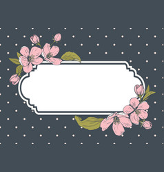 card template with text floral frame on polka dot vector image