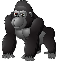 Cartoon funny gorilla isolated on white background vector