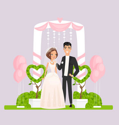 ceremonial arch with wedding couple flat vector image
