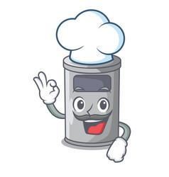 chef cartoon steel trash can in the door vector image