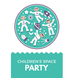 Child s rocket birthday party vector