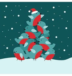 Christmas card with Bullfinch birds vector image