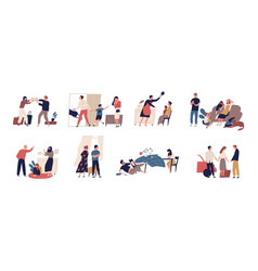 Collection of scenes of family conflict or vector