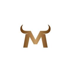 creative m letter horns bull logo design symbol vector image