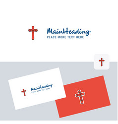 cross logotype with business card template vector image