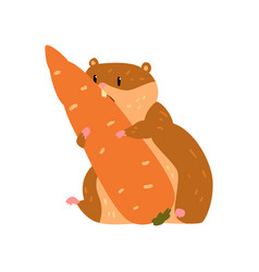 Cute cartoon hamster character eating carrot vector