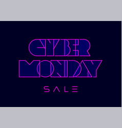 Cyber monday typography in retro futurism style vector
