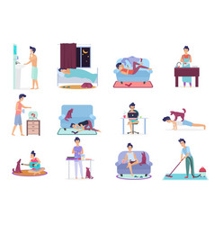 Daily life everyday routine scenes young man vector