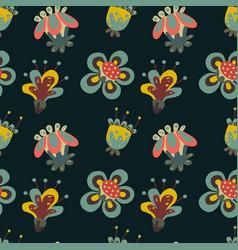 dark fantasy flowers pattern on black background vector image