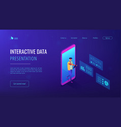 data insight isometric 3d landing page vector image