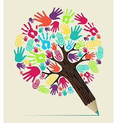 Diversity hand concept pencil tree vector