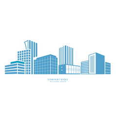 Downtown silhouette buildings city center office vector