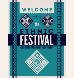 Ethnic festival typographic folk ornament poster vector