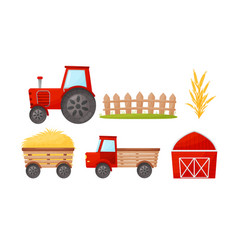 Farming and harvesting theme with barn and tractor vector