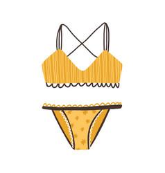 Female yellow striped underwear women fashion vector
