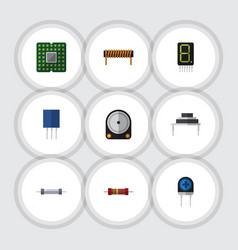 Flat icon appliance set of hdd resistor vector