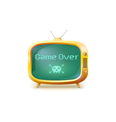game over pixel text skull and bones on screen vector image